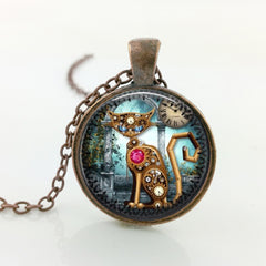 Steampunk Cat Necklace - THE FASHION COCKTAIL