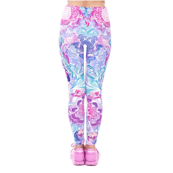 Exotic Purple Flowers Legging