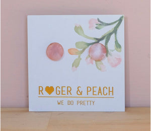 Roger and Peach Marble Acrylic Stud Earrings in Soft Pink