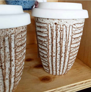 Judith Hoffman Stoneware Keep Cups - stripe or plain