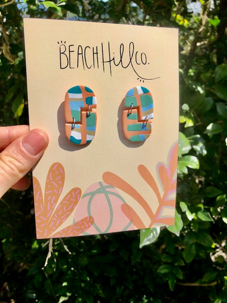 Beach Hill Co Colourful Bricks Earrings