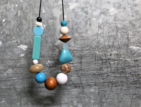 Salvage and String Turquoise Tones Necklace