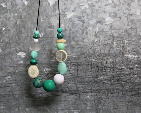 Salvage and String Ocean Greens Necklace