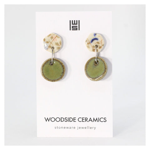 Woodside Ceramics Eucalyptus Round Meadow Drop Earrings