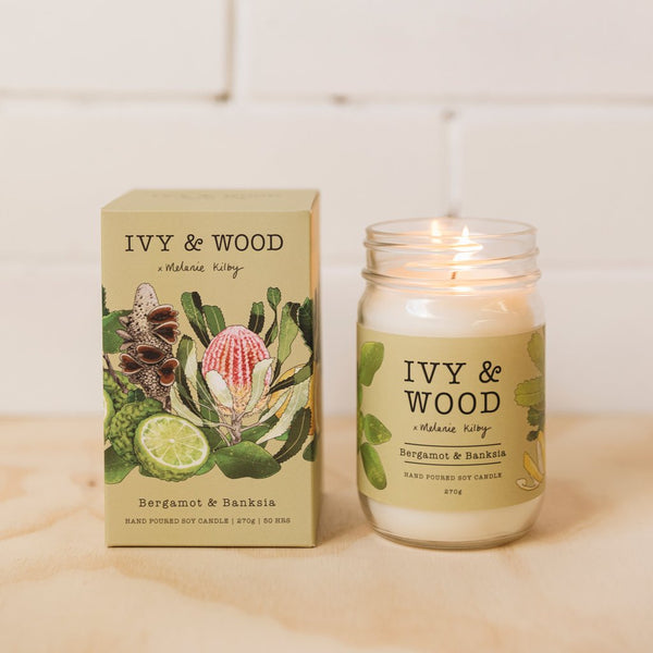 Ivy and Wood Australiana Collection Bergamot and Banksia Large Candle