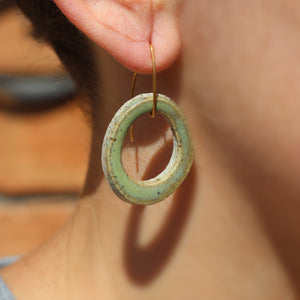 Woodside Ceramics Eucalypt Drop Hook Teardrop - Green Ceramic Earrings Brass