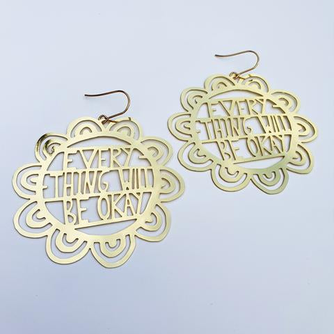 Denz and Co 'Everything Will Be Okay' Dangle Earrings in Gold