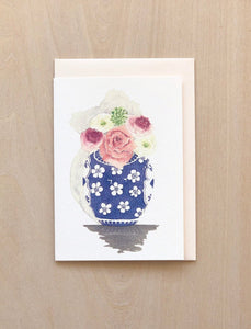 Aquarelle Ginger Jar Flowers Greeting Card