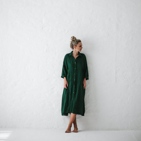 Seaside Tones Green Oversized Dress