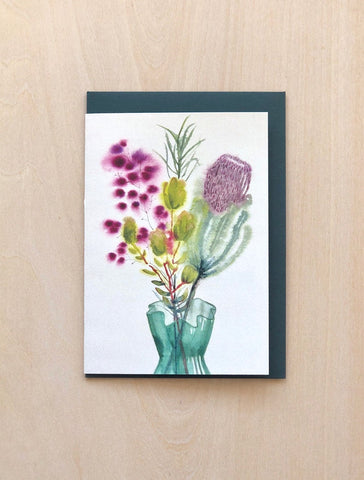 Aquarelle Natives in a Green Glass Vase Greeting Card