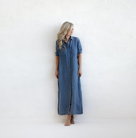 Seaside Tones Maxi Shirt Dress in Denim Blue
