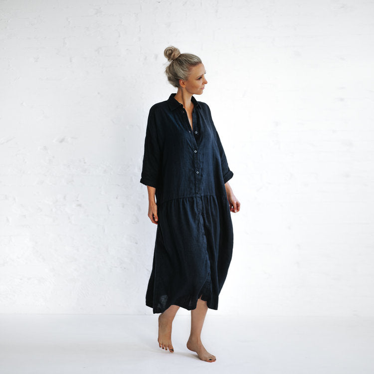 Seaside Tones Oversized Dress in Navy