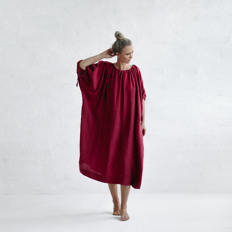 Seaside Tones Linen Drawstring Dress in Raspberry (ON HOLD FOR JESS)