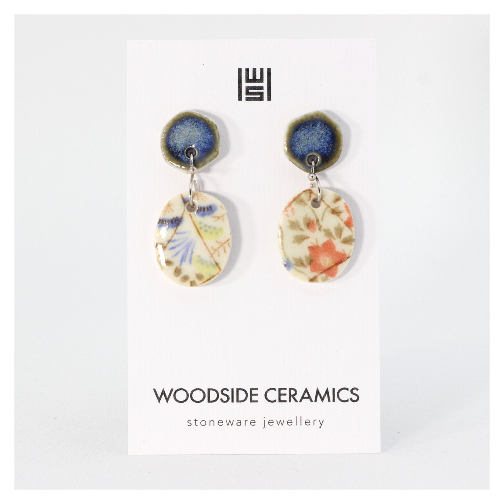 Woodside Ceramics Blue Meadow Drop Earrings
