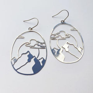 Denz and Co Moon Mountain Dangle Earrings in Silver