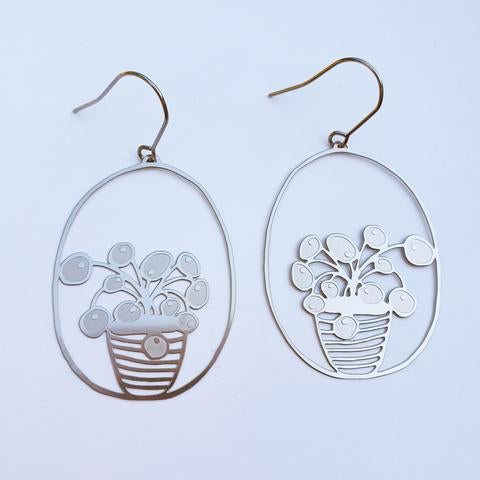 Denz and Co 'Pilea Pot' Dangle Earrings in Silver