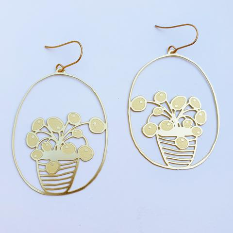 Denz and Co 'Pilea Pot' Dangle Earrings in Gold