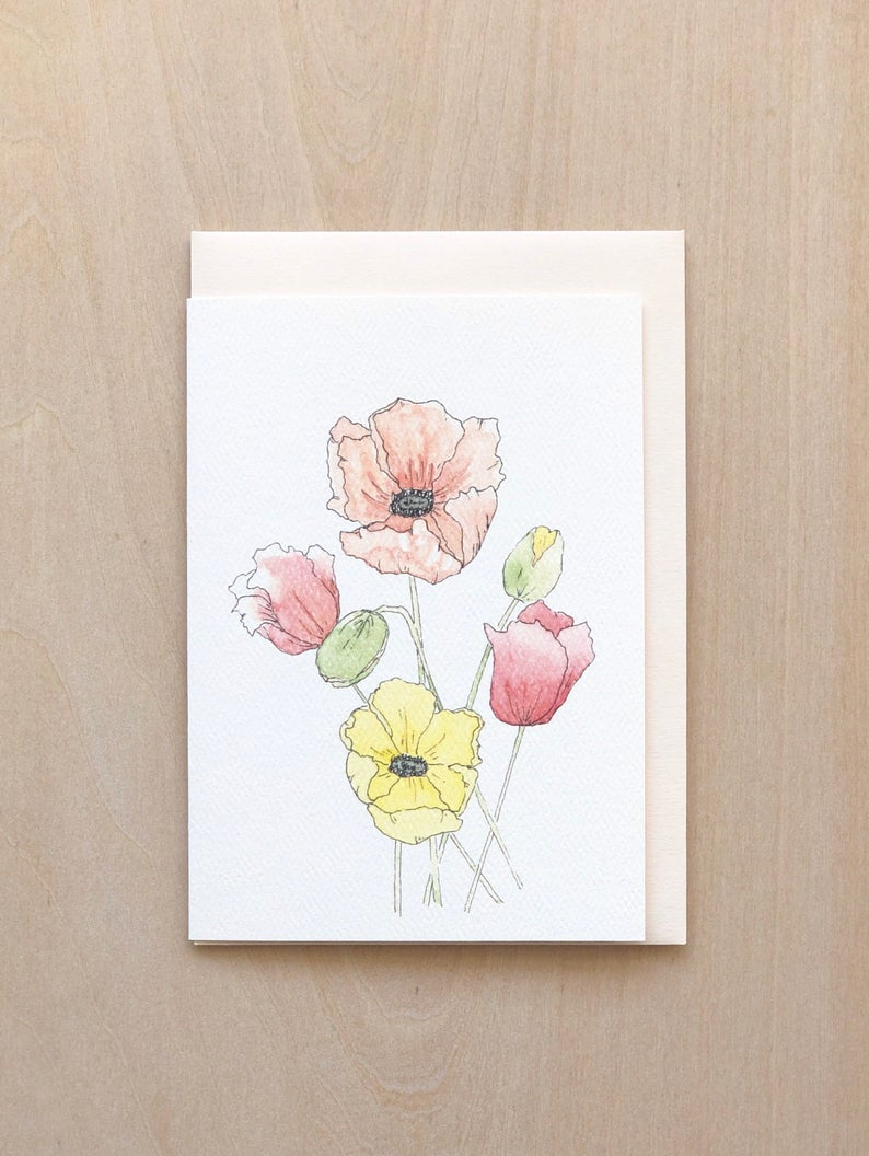 Aquarelle Tall Poppies Greeting Card
