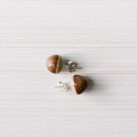 Woodfolk Red Ochre Acorn Studs