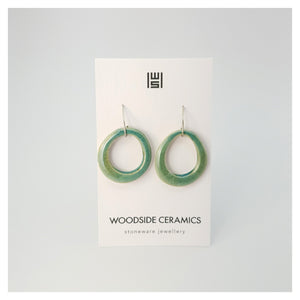 Woodside Ceramics Seaglass Green Ceramic Hook Teardrop Earrings