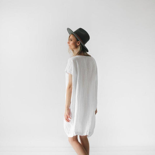 Seaside Tones Short Linen Dress in White