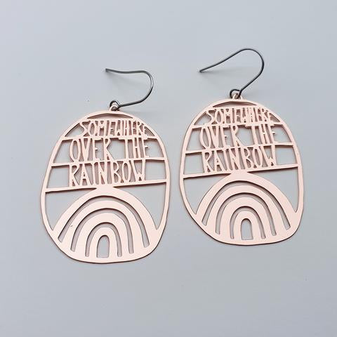 Denz and Co 'Somewhere Over the Rainbow' Dangle Earrings in rose gold