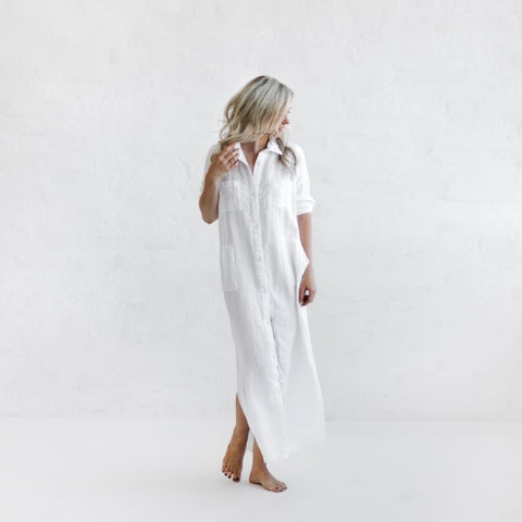 Seaside Tones Maxi Shirt Dress in White
