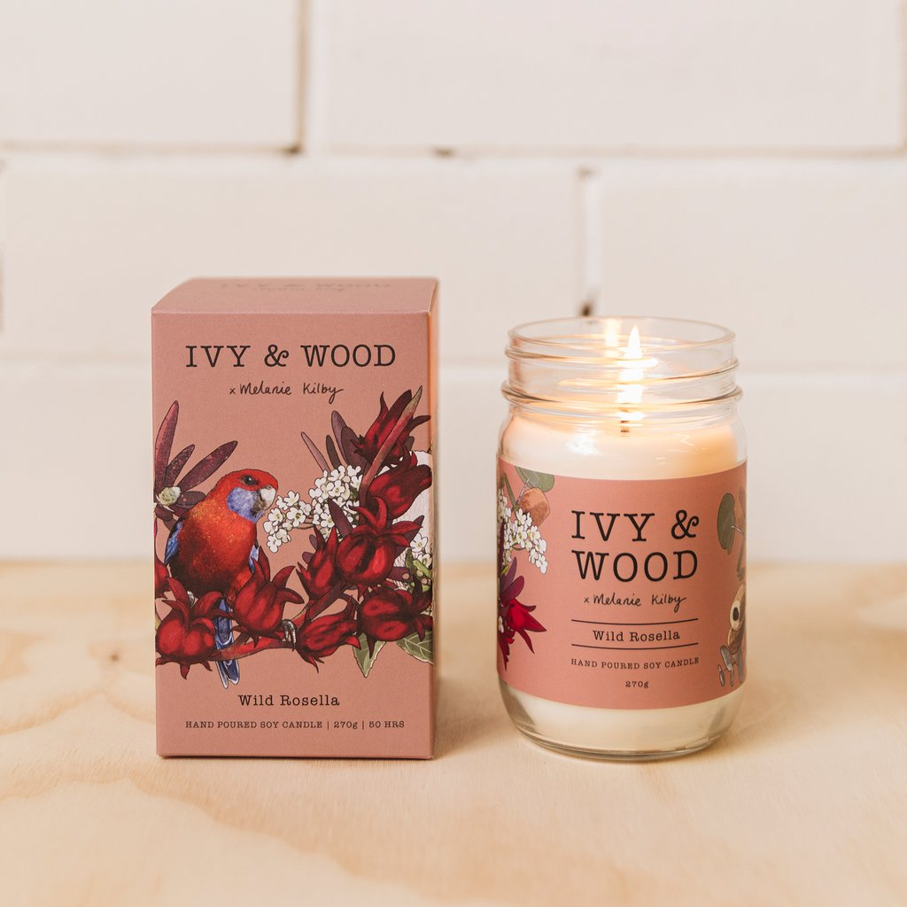 Ivy and Wood Australiana Collection Wild Rosella Large Candle