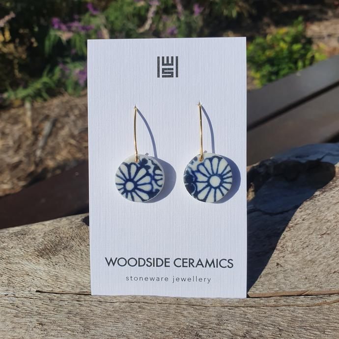 Woodside Ceramics Blue Floral Japanese Print Round Earrings