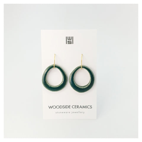Woodside Ceramics Emerald Green Hook Teardrop Earrings