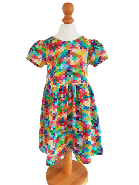Rainbow Pixel Party Dress