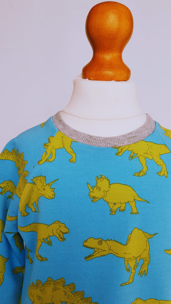 Child's dinosaur sweatshirt, sky blue fabric with yellow-green dinosaur illustrations and grey cuffs