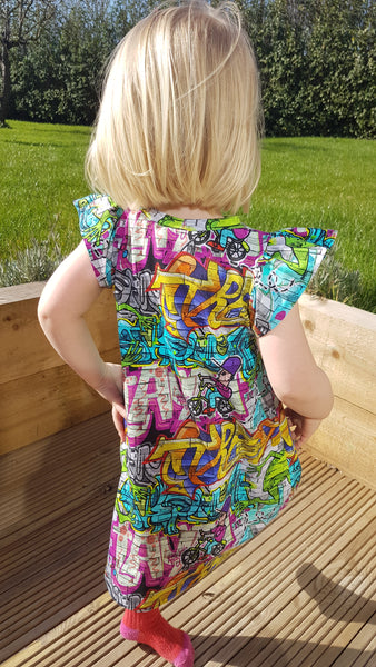 Graffiti Print Flutter Sleeve Dress Toddler Little Girl
