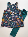 Organic Floral Pinafore Dress & Leggings Set