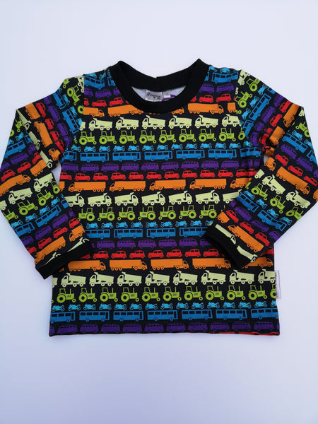 Organic Rainbow Traffic Tshirt cars, tractors, bikes, lorries
