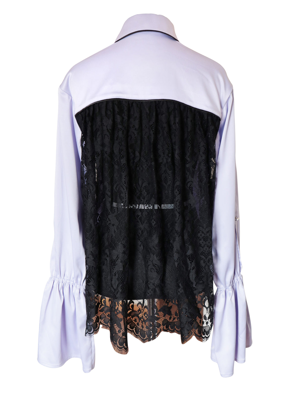 Ruffled Polyster and Lace Blouse