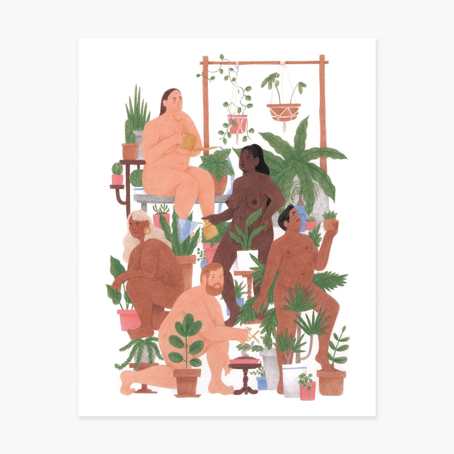 Slowdown studio print - nudes with plants