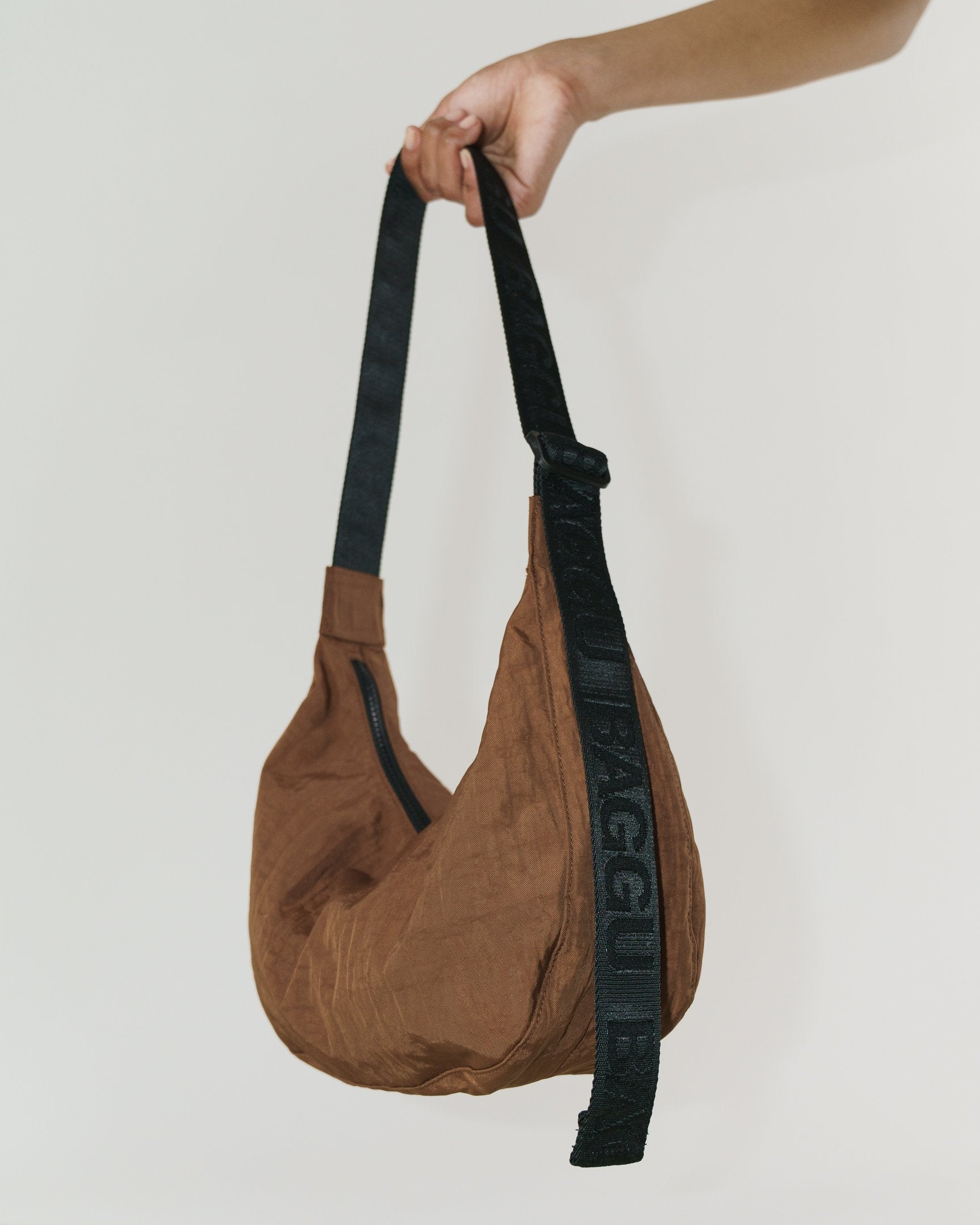 Medium nylon crescent bag - brown