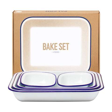 Falcon Bake Set White with Blue Edge