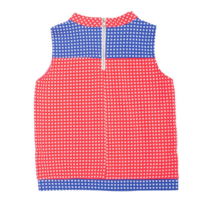 Blue and Bright Pink Check Knit
