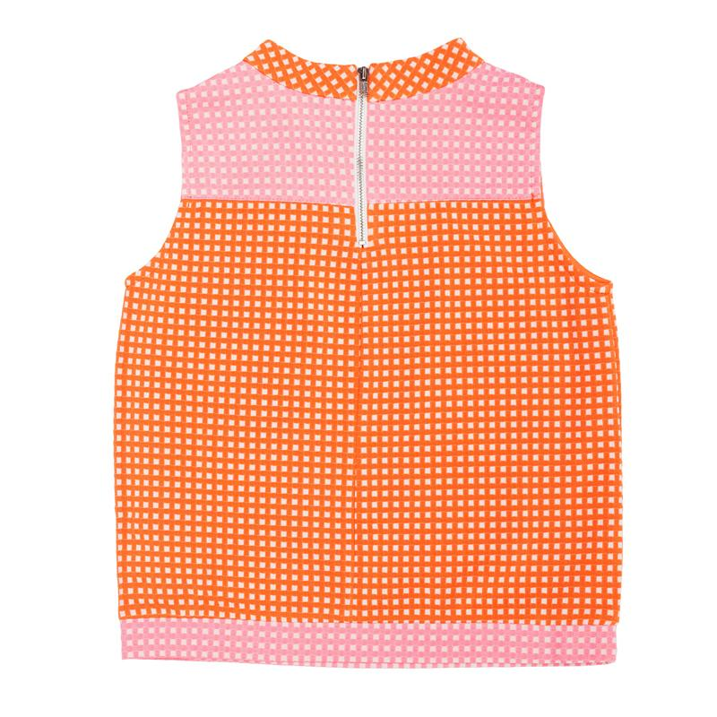 Orange with Pale Pink Check Knit
