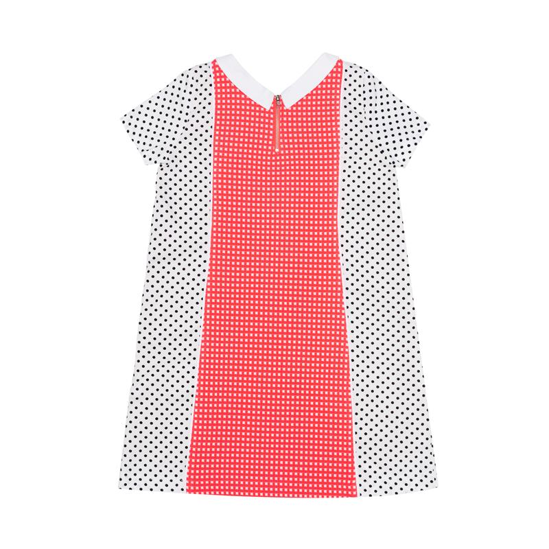 Bright Pink Check Knit with Black Mini Dots