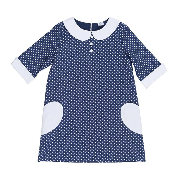 White Mini Dots on Navy