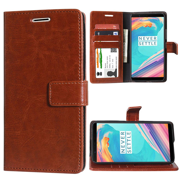 detailed look 9ce3a 07c7d OnePlus 5T Leather Cover, Anti Shock Technology, Premium PU Faux Leather  Flip Cover for Oneplus 5T [Royal Series Brown]