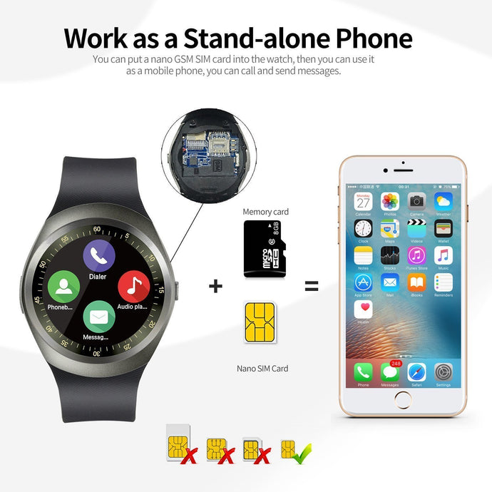 Y1 Round Bluetooth Smartwatch with SIM Card Slot Compatible for IOS &  Android Smart Phones (Black)