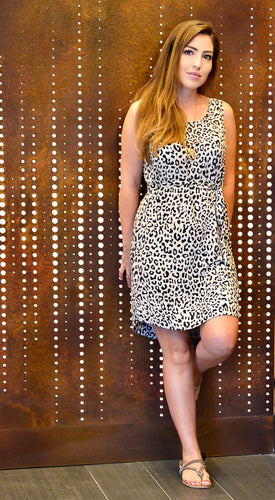 Sleeveless Shift Dress - Animal