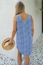 Sleeveless Shift Dress - Blue Arrows