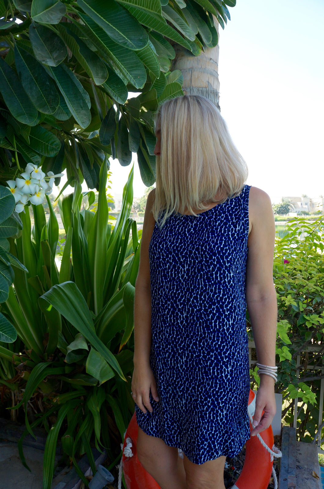Sleeveless Shift Dress - Navy Pebble
