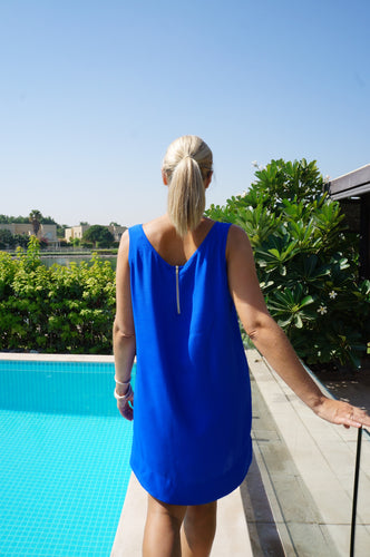 Sleeveless Shift Dress - Electric Blue