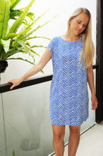 Load image into Gallery viewer, Classic Shift Dress - Blue Arrows